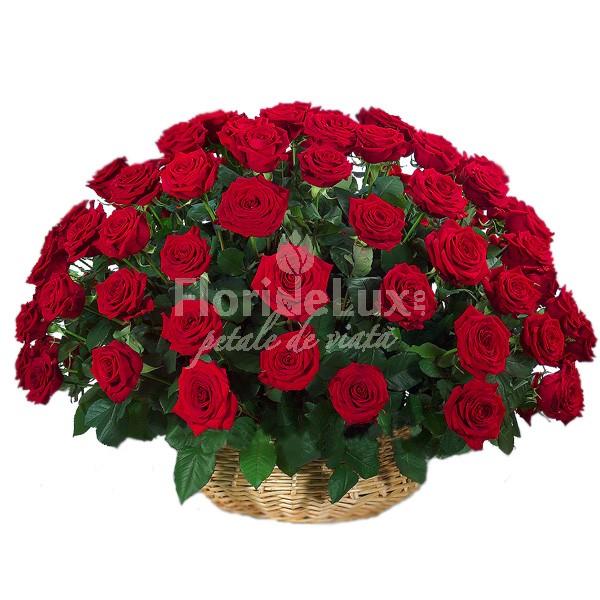 Cosuri flori Ziua Indragostitilor - cos trandafiri