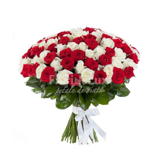 pret 101 trandafiri, buchet trandafiri rosii si albi