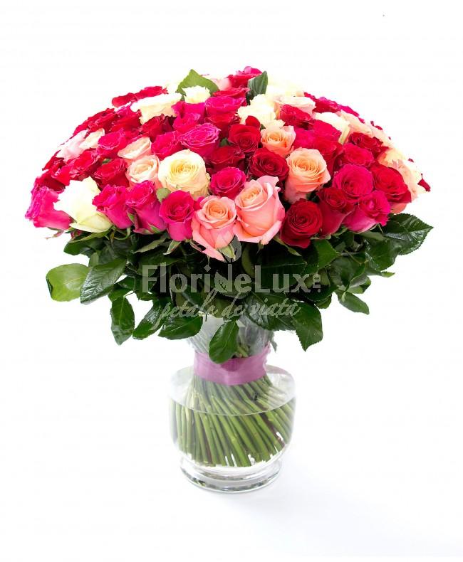 pret 101 trandafiri cu vaza