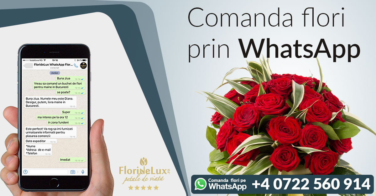 Comanda flori Ziua Indragostitilor pe WhatsApp