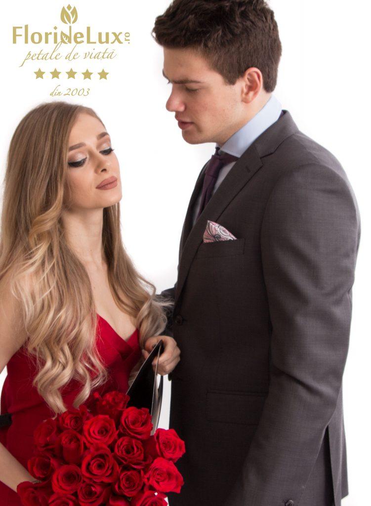 buchet de lux trandafiri rosii senzationali