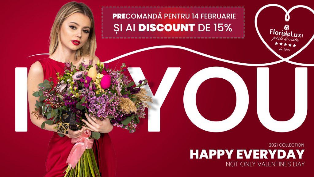 Idei pentru Valentine's Day Ce cadou îi poți cumpăra persoanei iubite, Precomandă pentru 14 Februarie și ai discount de 15% la florile preferate ale iubitei tale!